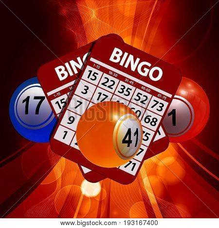 3D Illustration of Bingo Lottery Balls and Red Bingo Cards Over Glowing Backgrounds
