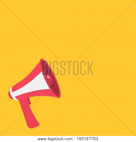 Megaphone speaker loudspeaker round icon. Announcement sign symbol in the corner. Template. Flat design. Red color. Yellow background. Isolated. Vector illustration