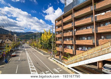 KYOTO, JAPAN - NOVEMBER 11, 2016: Streets of Arahiyama district of Kyoto, Japan. Arashiyama is a nationally designated Historic Site and Place of Scenic Beauty.