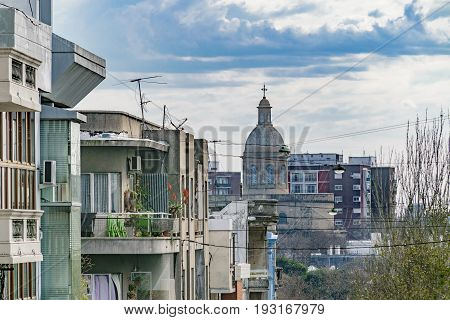 Urban scene buildings at traditional dowtown old neighborhood in Montevideo city Uruguay