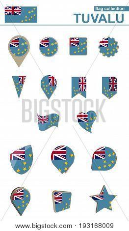 Tuvalu Flag Collection. Big Set For Design.