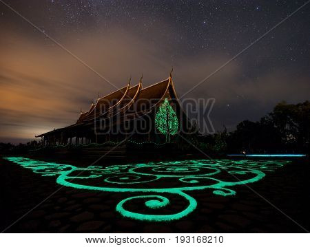 irindhorn Wararam Phu Prao Temple (Wat Phu Prao) Ubon Ratchathani Thailand Unseen.with the beauty of the temple. And views in the temple area A viewpoint overlooking the river. Mountain and Laos with neighbors or the identity of the landmark measure that