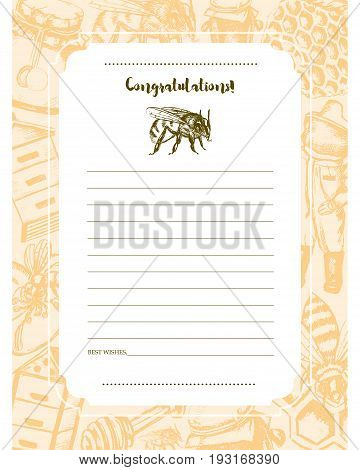 Bee Garden - yellow and white vector hand drawn template card. Realistic honey pot, jug, spoon, bee, flower, honeycomb, apiary, bee-garden, beekeeper, safety costume. Invite and congratulate.