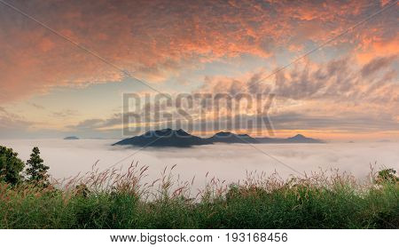 Landscape misty view. Fantastic dreamy sunrise on the mountains with a beautiful view. Foggy clouds above the landscape.