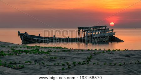 An Old Shipwreck Or Abandoned Shipwreck Panorama Taken During A Beautiful Sunrise , Wrecked Boat Aba