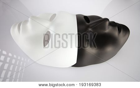 Black And White Masks Joined On White Reflective Background, Wide Angle View. Theatre And Anonymity