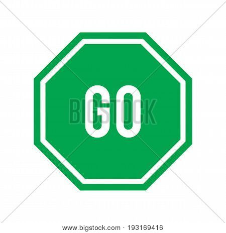 Green go sign isolated on white background. Vector stock.