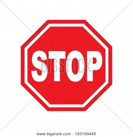 Red stop sign isolated on white background. Traffic regulatory warning stop symbol. Vector stock.
