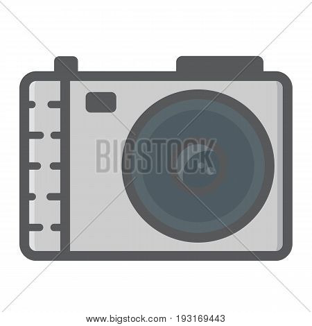 Camera colorful line icon, photo and capture, vector graphics, a filled pattern on a white background, eps 10.