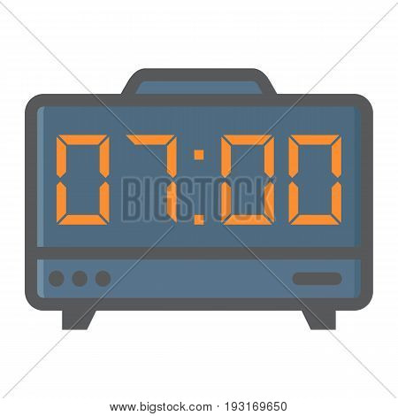 Digital clock colorful line icon, electronic and alarm, vector graphics, a filled pattern on a white background, eps 10.