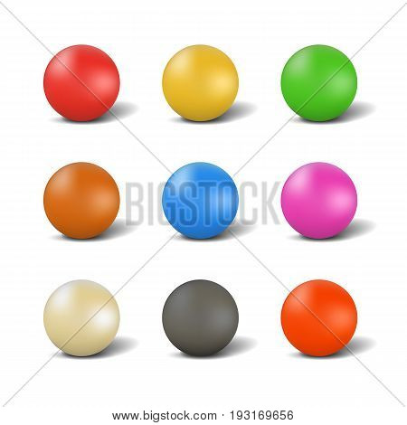 Set of multi-colored glossy ball for playing snooker with shadow isolated on white background. Elements of design of sports equipment. 3d style vector illustration.
