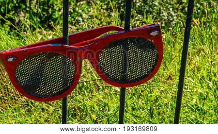 Metal Ornament On A Balustrade In A Seaside Town, Symbolic Element In The Form Of Sunglasses