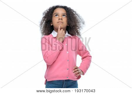 Little Thoughtful African American Girl In Pink Cardigan Isolated On White