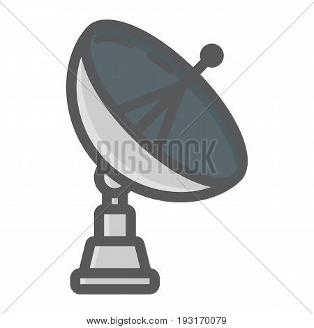 Satellite Dish colorful line icon, antenna and radar, vector graphics, a filled pattern on a white background, eps 10.