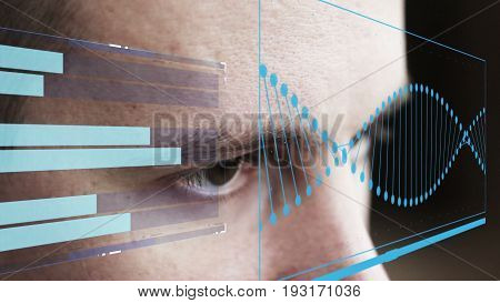 projecting the face of computer futuristic holograms.