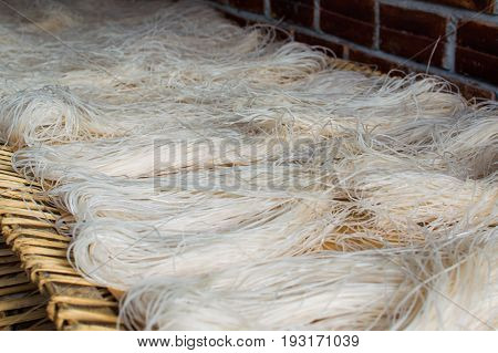 Asian dried glass Noodles Background. East cuisine