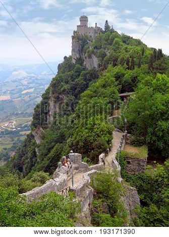 San Marino San Marino Republic - June 16 2017: Castle of San Marino on the rock with footpath