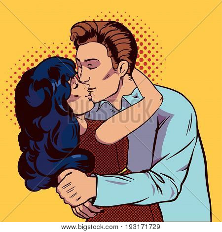 Couple kissing pop art. Realationship between man and woman. Vector illustration in comic style.