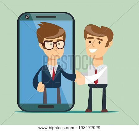 Businessman and big smartphone. man on the smartphone screen. People shake hands. Vector, flat, illustration
