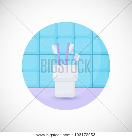 Toothbrushes in glass vector flat icon Flat design of bathroom tooth care or oral medicine object in the bathroom interior vector illustration with shadows