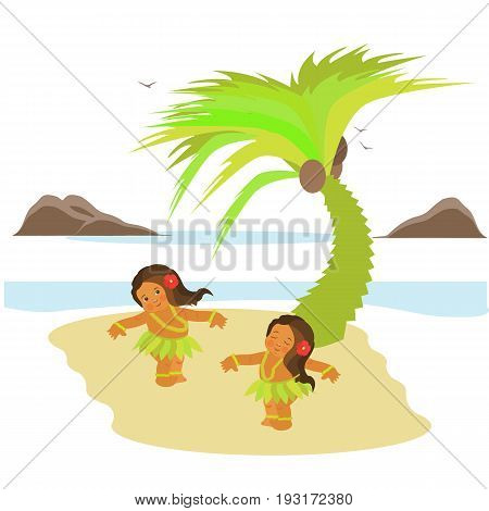 Vector flat illustration. Aloha Hawaii travel poster. Funny image.