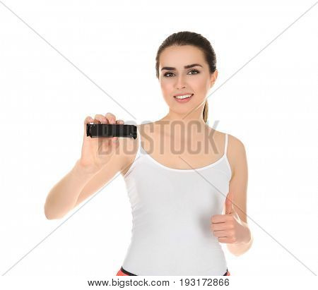 Beautiful young woman with energy bar on white background. Diet concept