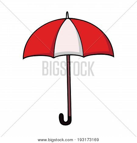 Red and white striped cartoon umbrella with a crook handle in cartoon style