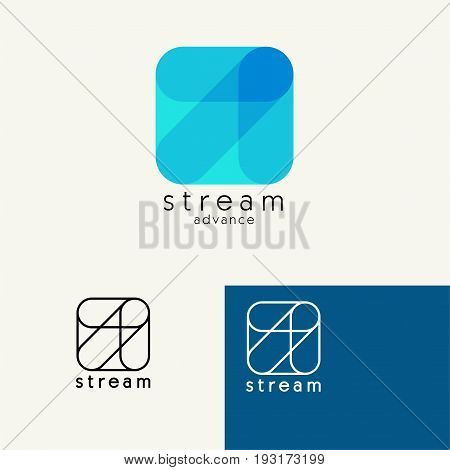 Arrow . Trendy minimalistic template design for logos, emblems, symbols, Icon. Vector elements with business card .