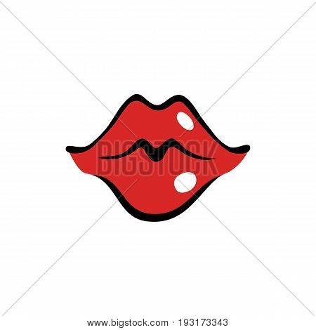 Kissing female mouth with red lips in cartoon style