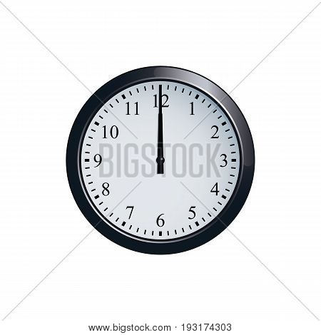 Realistic wall clock set at 12 o'clock