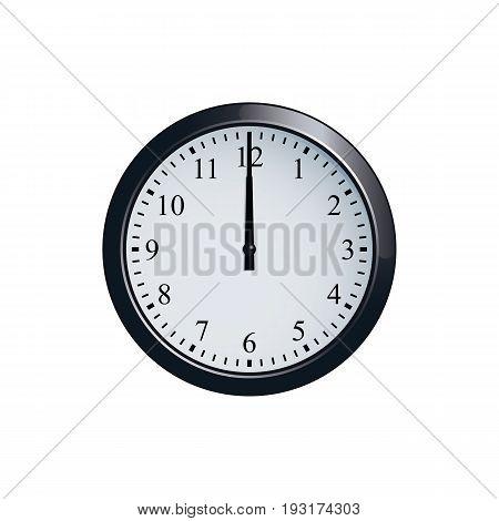 Realistic wall clock set at 12 o'clock