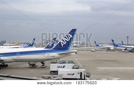 TOKYO-APRIL 1 2016 : Boeing 777 from ANA (All Nippon Airways) parked at Narita International Airport is an international airport serving the Greater Tokyo Area of Japan.