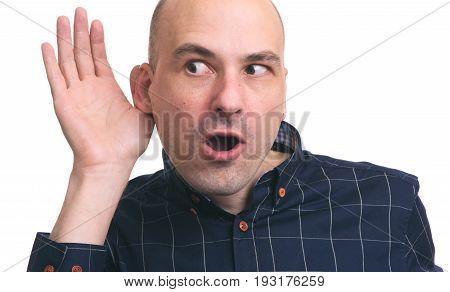Bald Man Eavesdrops Some News