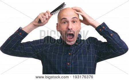 Hair Loss Concept. Shocked Bald Man