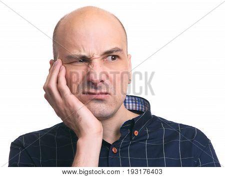 Sad Man Feeling Tooth Pain. Teeth Problem