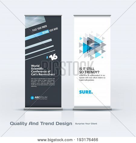 Abstract business vector set of modern roll Up Banner stand design template with grey lines, diagonal shapes for eco, market, exhibition, show, expo, presentation, parade, events.