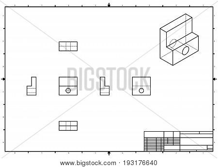 Technical Drawing with perspective and orthogonal views with stamp
