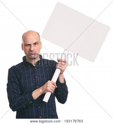 Angry Man Holds A Blank Placard On A Stick