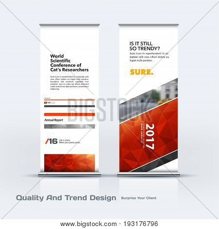 Abstract business vector set of modern roll Up Banner stand design template with red lines, diagonal shapes for eco, market, exhibition, show, expo, presentation, parade, events.
