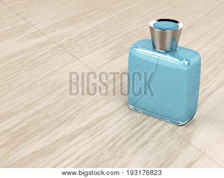 Perfume bottle on wood background, 3D illustration