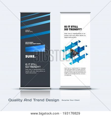 Abstract business vector set of modern roll Up Banner stand design template with blue lines, diagonal shapes for eco, market, exhibition, show, expo, presentation, parade, events.