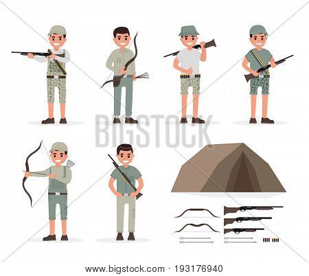 Hunter, huntsman, gamekeeper, forester and archer elements collection with weapons and various people actions. illustration in flat style