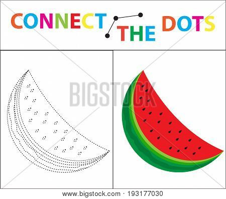 Children's educational game for motor skills. Connect the dots picture. For children of preschool age. Circle on the dotted line and paint. Coloring page. Vector illustration