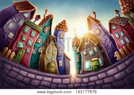 Illustration of a magic town
