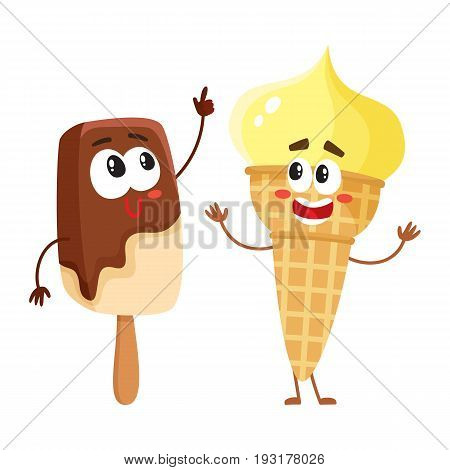 Two funny ice cream characters - vanilla cone and chocolate popsicle, cartoon style vector illustration isolated on white background. Two cute smiling creamy and chocolate ice cream characters