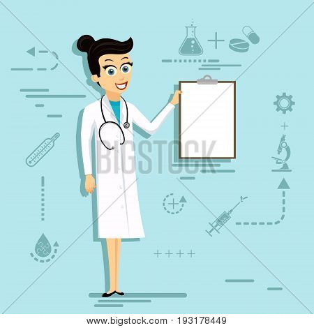 Doctor woman in lab coat holding blank clipboard. Stock vector cartoon illustration.