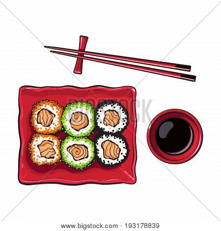 Plate of Japanese sushi, rolls, chosticks and soy sauce bowl, top view hand drawn, sketch style vector illustration isolated on white background. Sushi serving plate, chopsticks, soy sauce