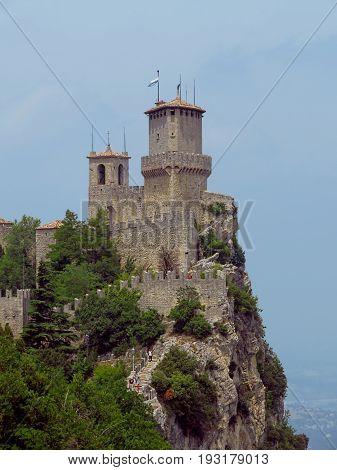San Marino San Marino Republic - June 16 2017: Castle of San Marino on the rock