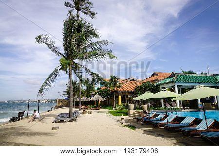 Swimming Pool At Seaside Hotel In Vietnam