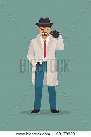 Detective with a magnifying glass in his hand. Vector illustration